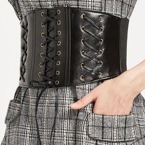 Black Lace-Up-Accent Corset Belt